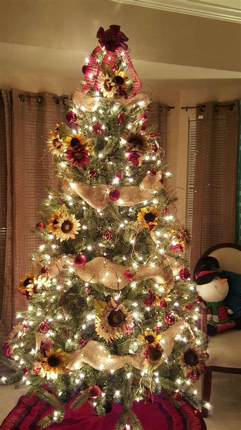 christmas themes ideas sunflower theme tree plaid burlap creationsbygec creations by gec