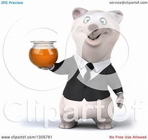 Clipart of a 3d Happy Business Polar Bear Holding a Honey ...