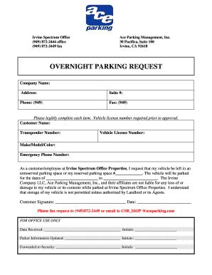 Drivers who feel they have been unfairly given a parking ticket can contest it. Fillable Online Overnight Parking Request - Irvine Company Office Properties Fax Email Print ...