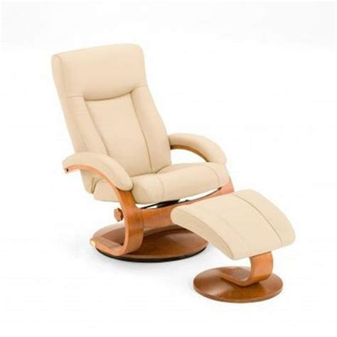 leather swivel recliner with ottoman mac motion oslo collection cobblestone top grain leather