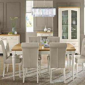 Cookes, Collection, Geneva, Oak, And, Antique, White, Dining, Table, And, 6, Chairs