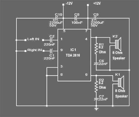 rangkaian tda 2616 hi fi power lifier koleksi skema rangkaian artikel elektronika