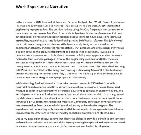 Narrative Resume Sles by Work Experience Narrative M Johnson