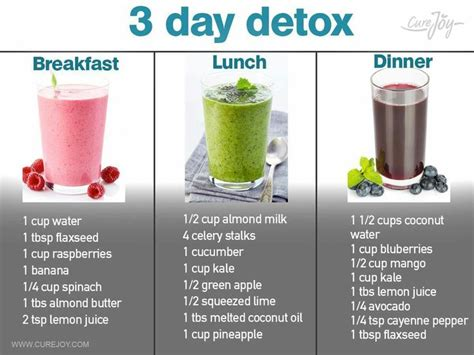3 tage detox diät 3 day detox smoothies via curejoy food in 2019 smoothie cleanse detox drinks detox diet drinks