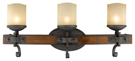 Rustic Bathroom Light Fixtures by Madera 3 Light Bathroom Vanity Light Black Iron Rustic