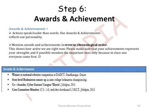 resume achievements for freshers resume preparation pictoria slideshow