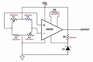 Instrumentation Amplifier Schematic Diagram  Note That The Load Cell Is