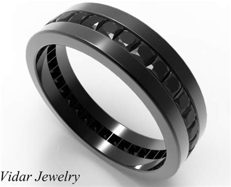 black diamond wedding band for him in black gold vidar jewelry unique custom engagement and