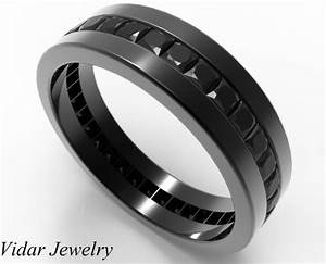 Black Diamond Wedding Band For Him In Black Gold Vidar