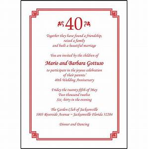 40th anniversary invites 40th anniversary invite wording for 40th wedding anniversary invitations in spanish