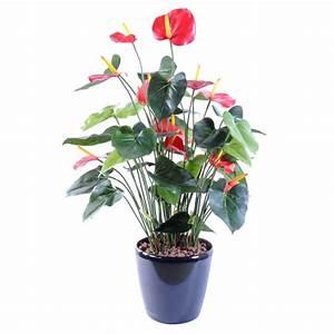 Fausse Plante Verte : anthurium 7 plante artificielle fleurs plantes artificielles ~ Teatrodelosmanantiales.com Idées de Décoration
