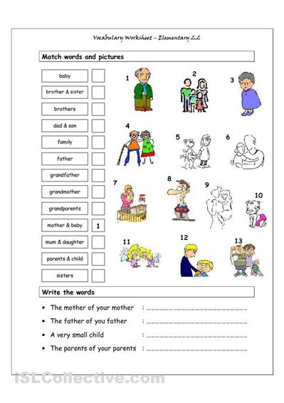 family members vocabulary worksheet unit  family ties