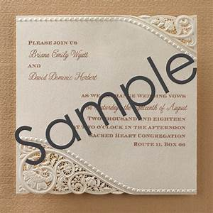 Laser cut vintage lace wedding invitations sample for Laser cut wedding invitations free samples