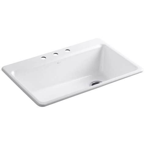 white single basin kitchen sink kohler riverby drop in cast iron 33 in 3 single 1867