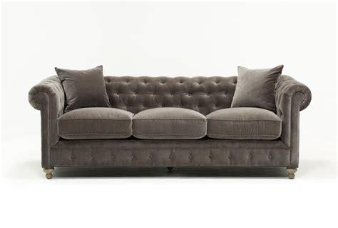 Mansfield 96 Inch Graphite Velvet Sofa Living Spaces