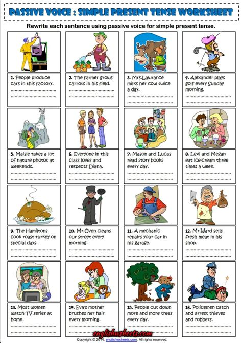 passive voice simple present tense esl exercise worksheet