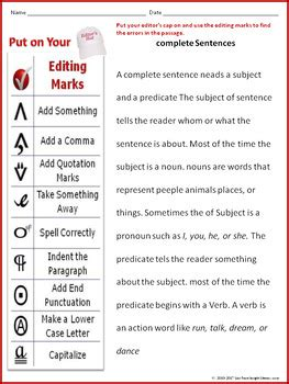 editing proofreading worksheet with complete sentences passage by frase