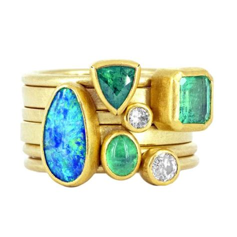 petra class emerald diamond opal stacking rings szor