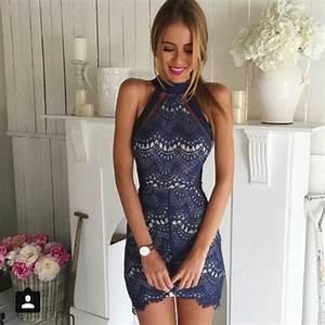 Dress: blue dress, lace dress, blue lace dress, navy, lace ...