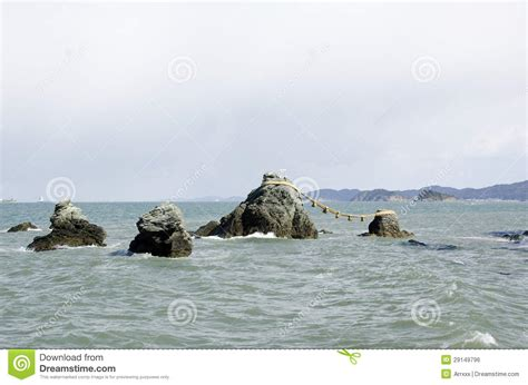 Meoto Iwa The Wedded Rocks Stock Photo. Image Of Coastline