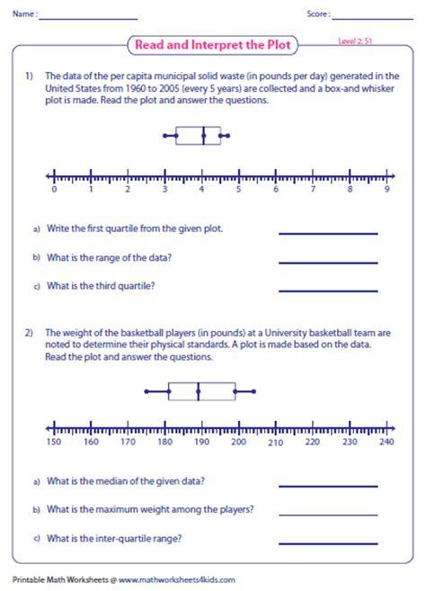 box and whisker plot worksheets