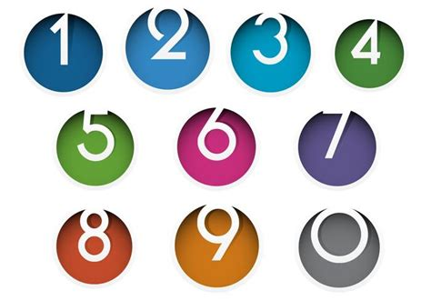 colorful icon pack colorful number icon vector pack free vector