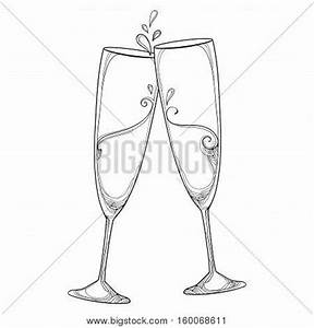 Vector illustration with two contour champagne glasses or ...