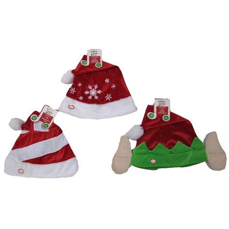 shop holiday living assorted lighted musical christmas plush santa hat at lowes com