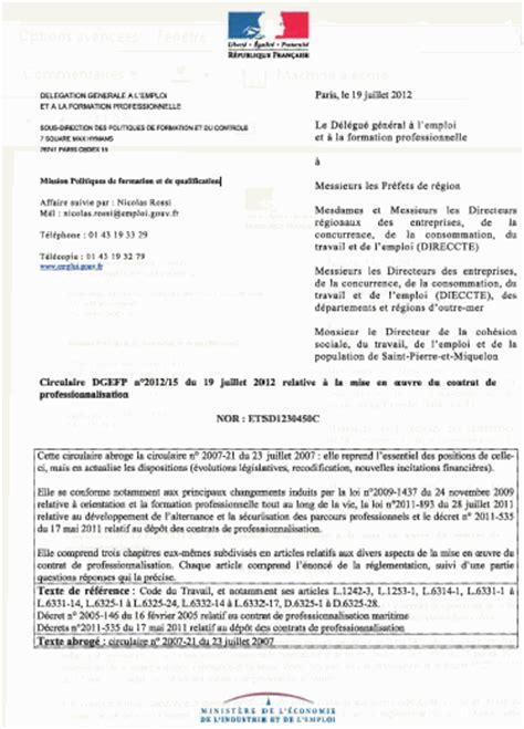 contrat de professionnalisation cuisine circulaire dgefp n 2012 15 du 19 juillet 2012 relative à