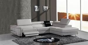 Divani Casa E9054 Modern Grey Leather Sectional Sofa w