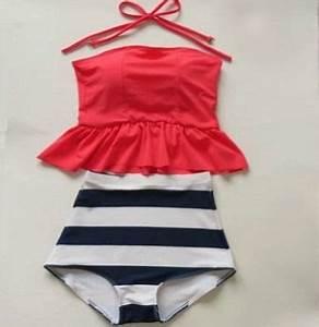 High Waisted Peplum Tankini Neon Pink Navy & White Stripes