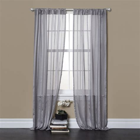 lush decor rhythm grey 84 inch sheer curtain panel pair