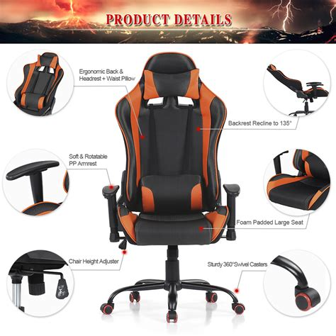 chaise de bureau gaming only 124 49 ikayaa ergonomique racing gaming ordinateur