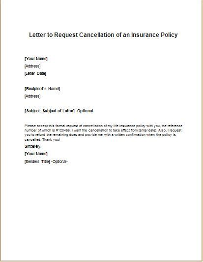 insurance policy cancellation request letter writeletter