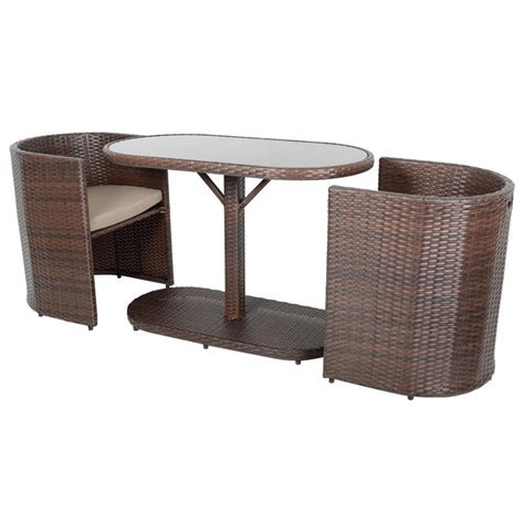 brown bistro garden table chairs rattan wicker