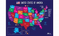 Amazon.com: Map of USA States and Capitals - Colorful US ...