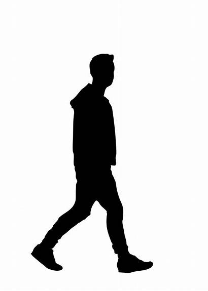 Silhouette Walking Clipart Person Human Shadow Vector