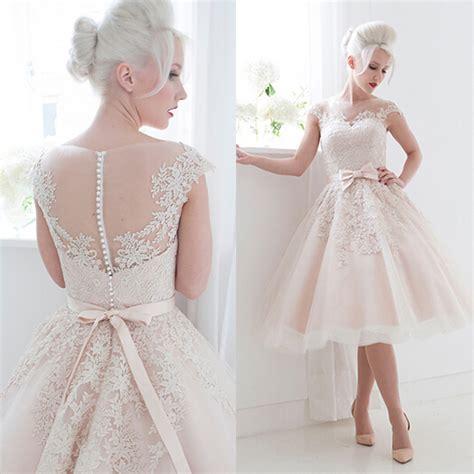 cutest wedding dresses pink bateau lace tea length wedding dresses cap