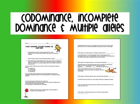 Incomplete Dominance And Multiple Alleles Worksheet Answers  Name Honors Monohybrid Cross