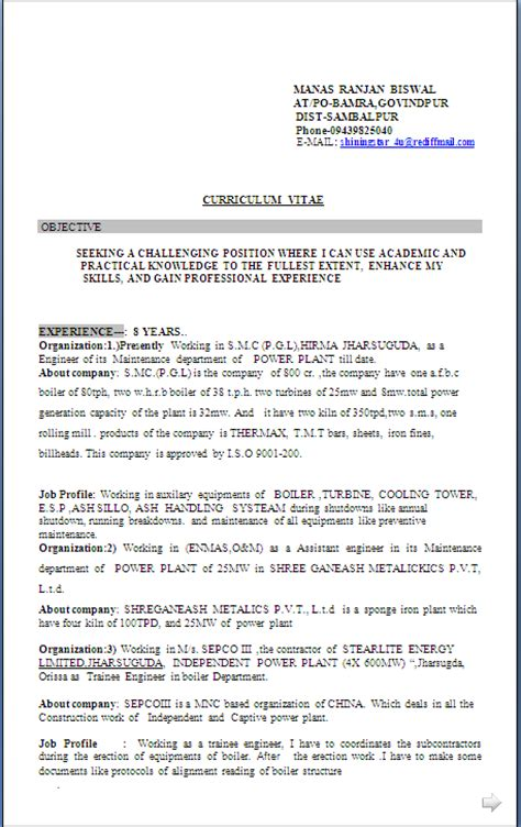 8 Years Of Experience Resume by Resume Co Resume Sle In Word Document For B E Mechanical 8 Years Experience
