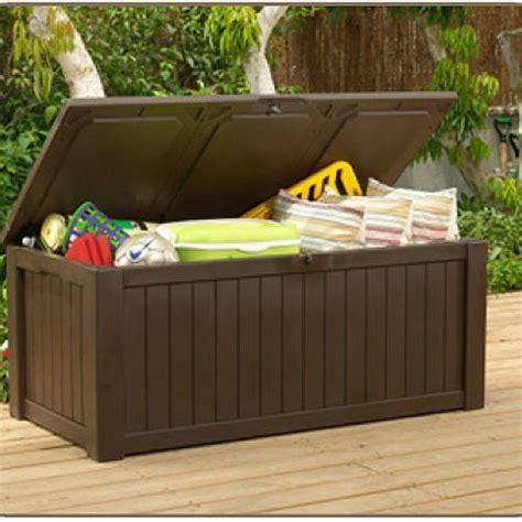 patio deck box jumbo storage bench xl 150 gal lockable
