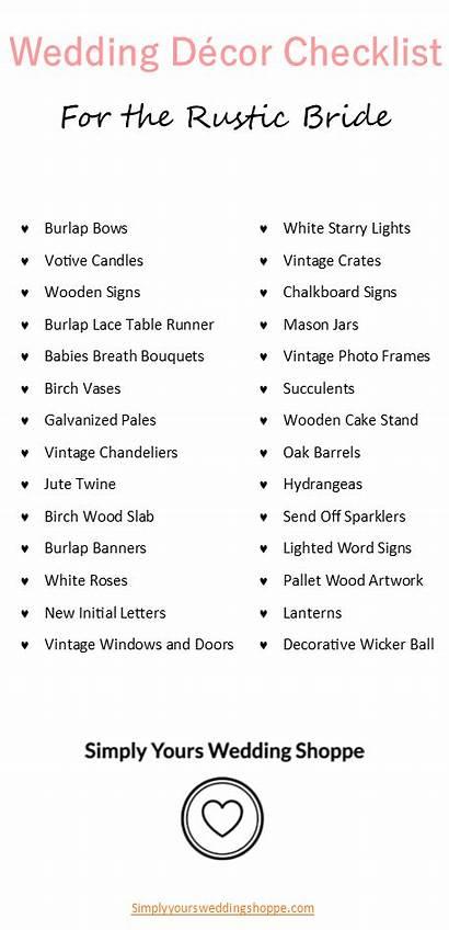 Checklist Bride Decorations Planning Rustic Event