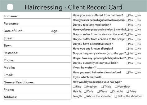 hairdressing client card treatment consultation card