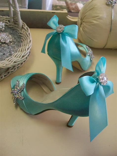 Something Blue Themed Bridal Shower by Tiffany Blue Wedding Shoes With Ribbons Ipunya