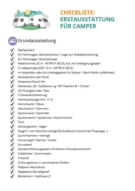 Ausstattung Wohnung Checkliste by Checkliste Erstausstattung F 252 R Wohnwagen Reisemobile