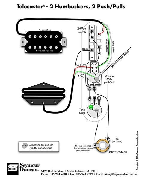 tele wiring diagram  humbuckers  pushpulls telecaster build pinterest