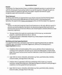 Free 9  Argumentative Essay Samples In Pdf