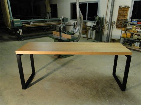 grande table de cuisine table de repas haute en bois et metal pour levallois