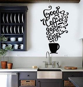 vinyl wall decal quote coffee kitchen shop restaurant cafe With kitchen colors with white cabinets with stickers for dirt bikes