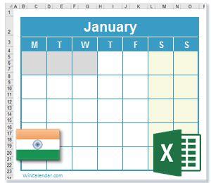 excel calendar  festive  national holidays india